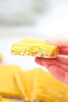 These anti-inflammatory turmeric bars are a delicious treat that requires zero baking. They're paleo, gluten free, and AIP. Easy Healthy Recipes, Snack Recipes, Cooking Recipes, Diet Recipes, Chicken Recipes, Best Protein, Protein Foods, Protein Recipes, Best Diet Plan