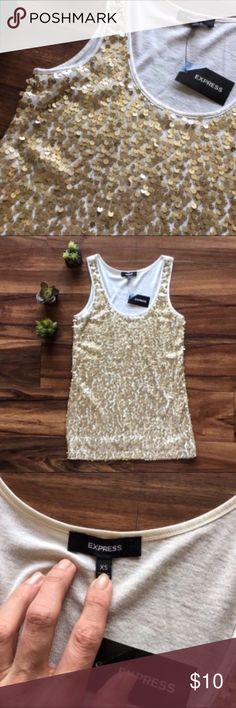 NWT Express Gold Sequined Tank Top New with tags so no flaws. I'm only looking to sell at this time so sorry but no trades. My listing price is firm. Express Tops Tank Tops