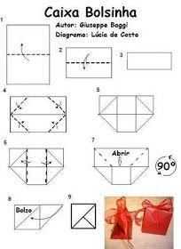 Origami Folhas de Arte: Caixa /bolsinha para souvenir