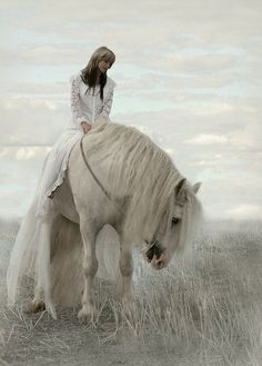 """Romantic White horse with lady in a white dress riding. mistymorrning: """" Source:imgfave-herok """""""