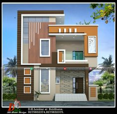 Front Elevation Designs, House Elevation, Duplex House Design, Small House Design, Modern Exterior House Designs, Modern House Design, Smallest House, House Architecture, House Front