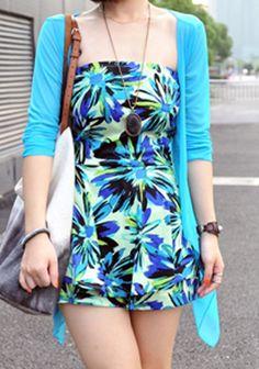 Blue Collarless Long Sleeve Street Transparent Shirt