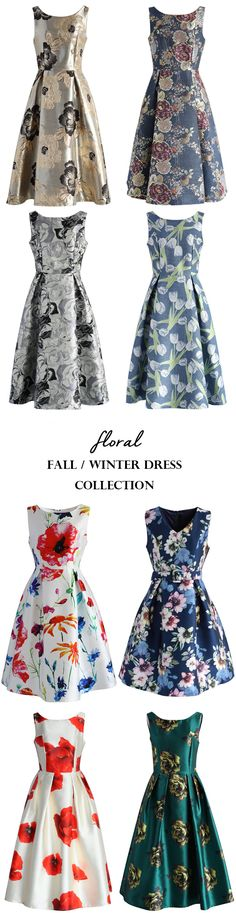 fall and winter women floral dresses
