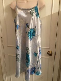Ladies nightgown satin with tiny ruffles at bosom turquoise shades floral print #ValerieStevens #Gowns