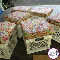 Crate stools: the perfect combination of extra seating and much needed storage. This easy DIY project will brighten up your classroom décor and aid your classroom organization.