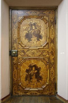 Torun, inlaid wooden door in Old Town Hall, made in 1760