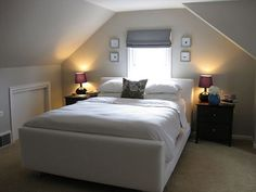 Attic bedroom with a beautiful bed.  | @Christina Childress Childress Childress Childress & Dezuanni Villegas