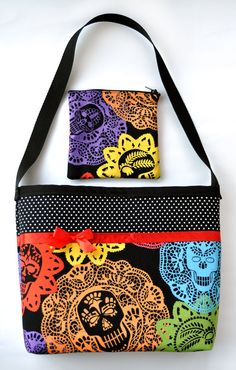 Day of the Dead Papel Bonito Skulls and Polka Dots Purse with matching Makeup Bag Set - SOLD - Sabbie's Purses and More
