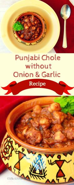 Recipe for Punjabi Chole / Saffed Chane without onion & garlic Garlic Recipes, Veg Recipes, Curry Recipes, Vegetarian Recipes, Cooking Recipes, Healthy Recipes, Vegetarian Cooking, Kitchen Recipes, Healthy Foods