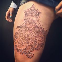 The start of a very cool tattoo Santa Muerte