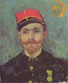 Vincent Willem van Gogh.  Porträt des Paul-Eugène Milliet. 1888, Öl auf Leinwand, 60 × 49 cm. Otterlo, Rijksmuseum Kröller-Müller. Niederlande und Frankreich. Neo-Impressionismus.  KO 01580