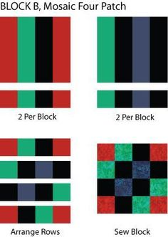 Mosaic Four Patch Quilt Block Pattern - from The Spruce;  This quilt is made with two blocks made the same way but in coordinating colors, then the blocks are alternated.