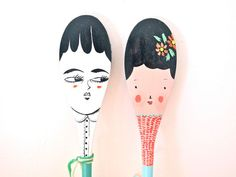 Decorative wooden spoon hand painted home by JessQuinnSmallArt
