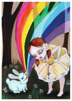 Daisy and the Rainbow Rabbit Print 5x7 by lauramuraco on Etsy