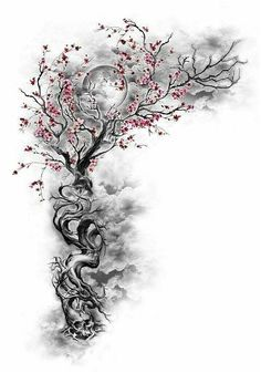 #MensSleeveTattoo #SleeveTattoos Cherry Blossom Tree w/ Hidden Designs Incorporated Night Sky Moon , click for more info..
