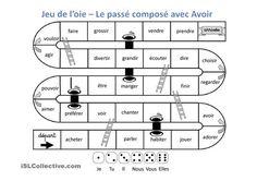 Classique jeu de l'oie pour systématiser l'utilisation du passé composé avec l'auxiliaire AVOIR.Facile à utiliser en classe de FLE que ce soit pour les enfants que les adultes. - Powerpoints FLE