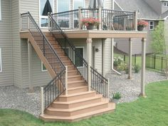like the way the stairs fit with the deck; not sure if I like the large landin., I like the way the stairs fit with the deck; not sure if I like the large landin., I like the way the stairs fit with the deck; not sure if I like the large landin. Deck Stair Railing, Patio Stairs, Open Stairs, Exterior Stairs, Outdoor Stairs, Backyard Patio, Railing Ideas, Garden Stairs, Wood Railing