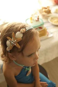 diy shell headband | Her headband was virtually free since I only used items I had on hand.