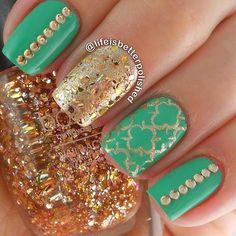 Minty Gold Combo #nail #nails #nailart #unha #unhas #unhasdecoradas