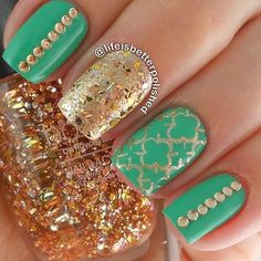 Minty Gold Combo, but with golds polka dots on the mint background and a golden sparkle accent nail instead of the patterns and jewels...