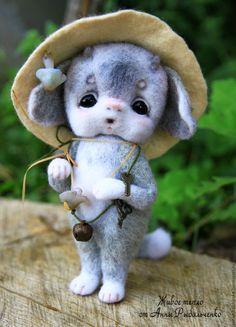Купить Сатирёнок Гошенька - серый, белый, игрушка ручной работы, игрушка из шерсти, игрушка в подарок