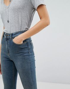 61d502aa33db8 Shop ASOS DESIGN Ridley high waist skinny jeans in nanette darkwash blue at  ASOS.