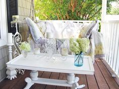 There are no fancy showpieces in the shabby chic home. Everything is recycled, upcycled and lived-in. This relaxed rule carries into outdoor rooms too. Rate My Space contributor  cobbcottage's porch is used all year long, so it was paramount that the space be comfy and inviting. A thick, antique quilt and printed pillows ensure that the porch swing is used for more than just curb appeal.
