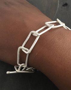 Statement Bracelet Sterling Silver Geometric Chain Bracelet