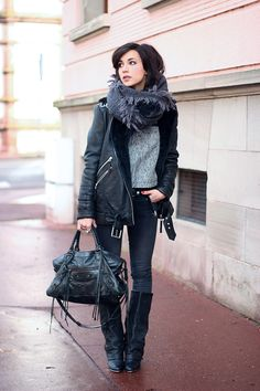 black biker jacket, blanket scarf, black skinny jeans, black tote, black boots, tweed shirt