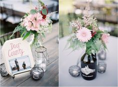names of national parks as table numbers, pink floral centerpieces in beer growlers! Such a great personal touch! {Rustic Wisconsin Resort Wedding, Emily Steffen Photography}