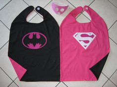 Reversible Batgirl Supergirl Superman Batman Pink by kidzescapes   these r such great quality ..