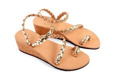 Made to Order - Handmade Greek Leather Sandals - Wedge Sandals - Metallic Wedding Sandals - Toe Ring Sandals - Strappy Bridal Sandals