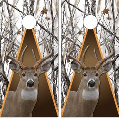 Giant White Tail Deer Cornhole Board Wrap Decal Decal Set FREE SQUEEGEE