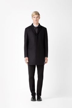 Wool coat with technical layer