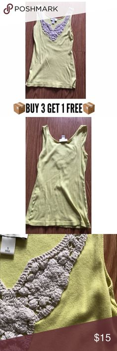 Loft tank top ALL NON-BOUTIQUE PANTS AND TOPS ARE BUY 3 GET ONE FREE!!(let me know which four you like and I will make you a new listing with the correct price reflected)  Loft embroidered tank top in a beautiful yellow color. Size small. LOFT Tops Tank Tops