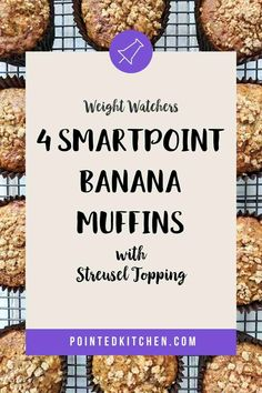 These Banana Muffins with their deliciously sweet crunchy streusel topping are just 4 Smart Points per serving on Weight Watchers Blue, Green, Purple Weight Watchers Pasta, Weight Watchers Free, Weight Watchers Desserts, Ww Recipes, Snack Recipes, Weight Watcher Shopping List, Healthy Banana Muffins, Streusel Topping, Blue Green