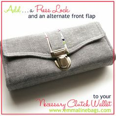 How to Install a Tongue/Press Lock on your Bag or Necessary Clutch Wallet: Includes instructions for a alternate front flap for your wallet!...