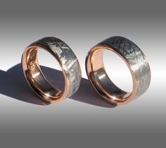 This woman is crazy, awesome idea: My man is a nerd and wants his wedding band to be made out of Meteorite. As a matter of fact, he would like us to have certified matching Men's and Women's rings that are Guaranteed to have been cut from the same 4+ billion year old piece of the Cosmos :/