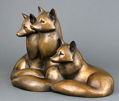 "A trio of ""Spring Foxes"" huddles close. Lovely bronze by Georgia Gerber!"
