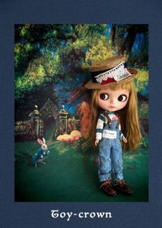 Toy-crown: Custom Blythe * denim overalls (USED)  Buy her here:   #‎blythe #‎blythedolls #‎kawaii #‎cute #‎rinkya #‎japan #‎collectibles #‎neoblythe #‎customblythe