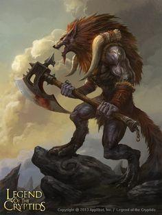 Artist: Songnan Li aka oldmole - Title: legend of the cryptids - Card: Raging Fenrir