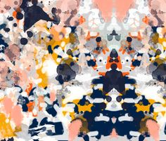 stella  - abstract art print on fabric navy white orange interior decor bright abstract fabric by charlottewinter on Spoonflower - custom fabric