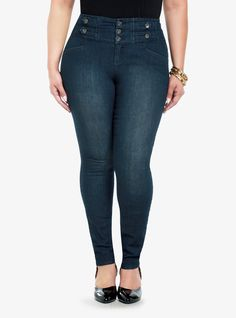 Geez, I want like all of their pants! These are so cute!  High-Waisted Button-Tab Front Skinny Jeans | Torrid