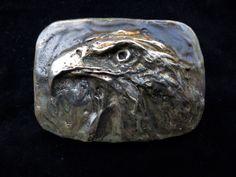 Eagle belt buckle in bronze by Marcela Ganly Cool Belt Buckles, Casual Attire, Sculpture Art, Jewelery, Eagle, Skull, Bronze, Men, Clothing