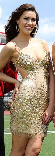9cad86c15ec Encrusted Cutout Mini Dress in Gold. Nye DressesBeaded DressesDress RentalDesigner  ...