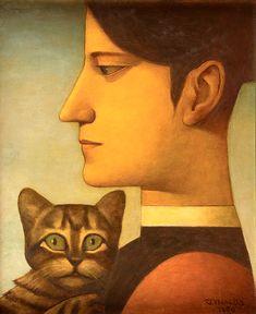 Reynaldo Fonseca (Brazilian, b. 1925) - Woman and cat, 1989