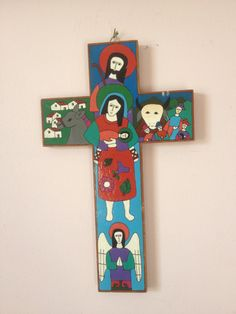 Hand Painted Cross, El Salvador Folk Art painting, Mother and child,bright hand painted, bohemian style on Etsy, $15.00