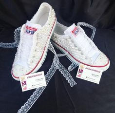 Wedding Converse, Bling&Pearls Custom Converse Sneakers, All Star Converse, Women Converse, Bridal C Lace Sneakers, Converse Sneakers, Bridal Converse, Custom Converse, Bling Shoes, Wedding Heels, Bridal Shoes, Wedge Shoes, Perfect Fit