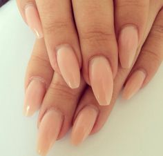 Nude gel nails acrylic coffin tip