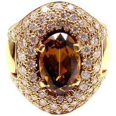HERMES Diamond Imperial Topaz Yellow Gold Ring | From a unique collection of vintage cocktail rings at http://www.1stdibs.com/jewelry/rings/cocktail-rings/